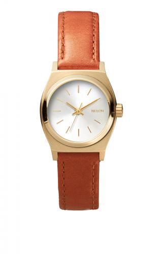 Nixon Small Time Teller Leather, Light Gold