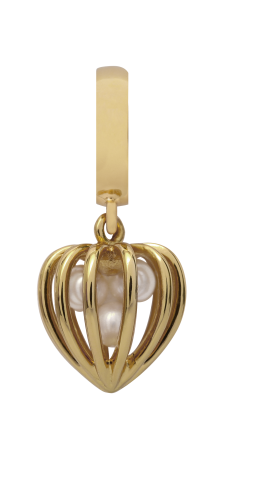 Endless Jewelry Pearl Heart Cage Gelbgold