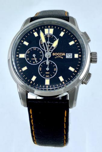 Boccia Uhr Chronograf Lederband