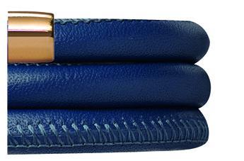Endless Jewelry Lederband Blau/Gelbgold 54 cm