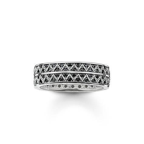 Ring Größe 62, 925 Sterlingsilber geschwärzt/Zirkonia schwarz