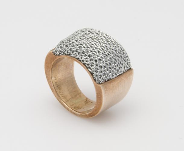 Ring Optik geflecht metallisiert mit Teilen aus Sterling Silber
