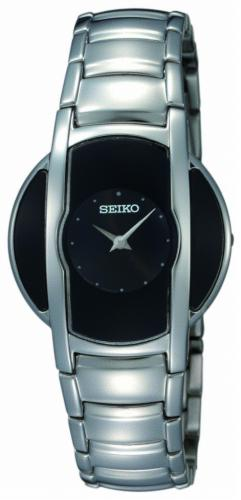 Seiko Damen Uhr Stahl, Ziffernblatt schwarz