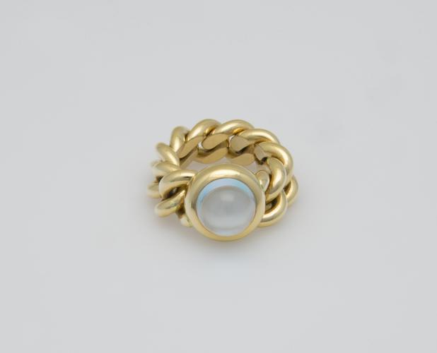 Fiessler Ring Gelbgold 750, Blautopas 6,33 ct