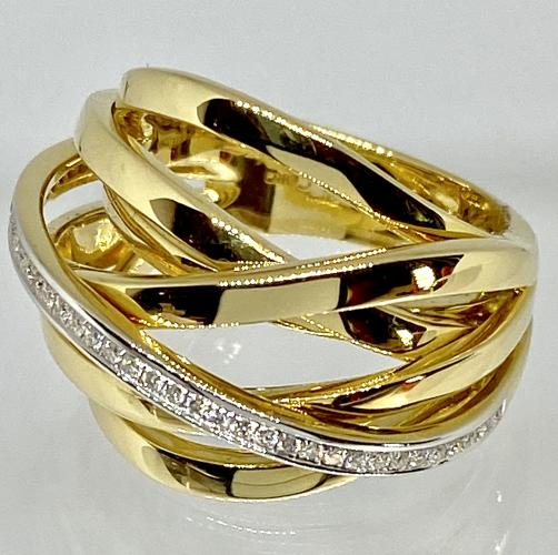 Al Coro Ring 750/-GG 40 Brill. W/SI 0,18ct.