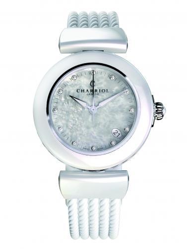 Charriol Armbanduhr Keramik weiß