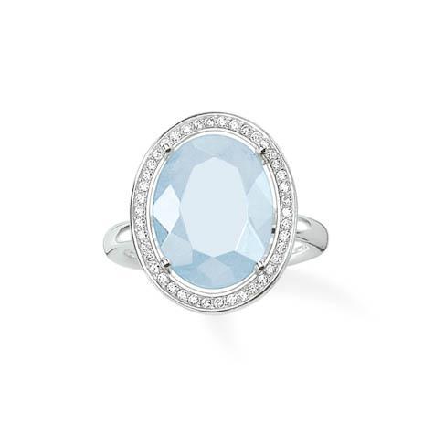 Ring Größe 54, 925 Sterlingsilber/ Milky Aquamarine