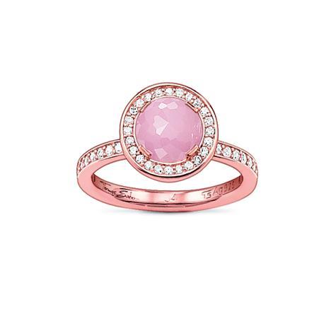 Thomas Sabo Sterling Silver Ring, Gr. 54 - RG/Rosenquarz