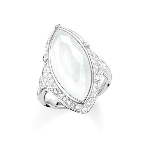 Ring Größe 54, 925Sterlingsilber/ Milky Quarz